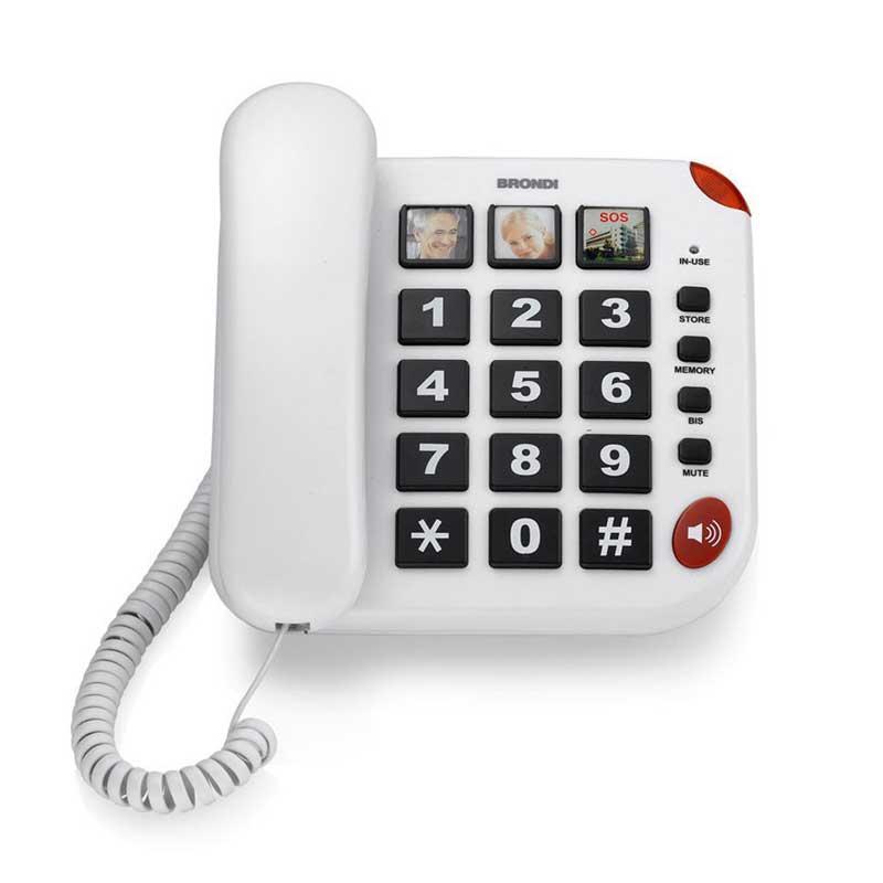 Telefono senior Brondi BRAVO 15 Blanco - Teclas grandes - Teléfono analógico Brondi BRAVO 15, con grandes teclas de pulsación en relieve, ideal para personas mayores con discapacidad auditiva. 3 botones programables para realizar llamadas directas, personalizables con fotos + botón SOS. Rellanada del último número. Incluye botón altavoz ajustable y timbre regulable. Posibilidad de desactivar el micrófono a través de la tecla