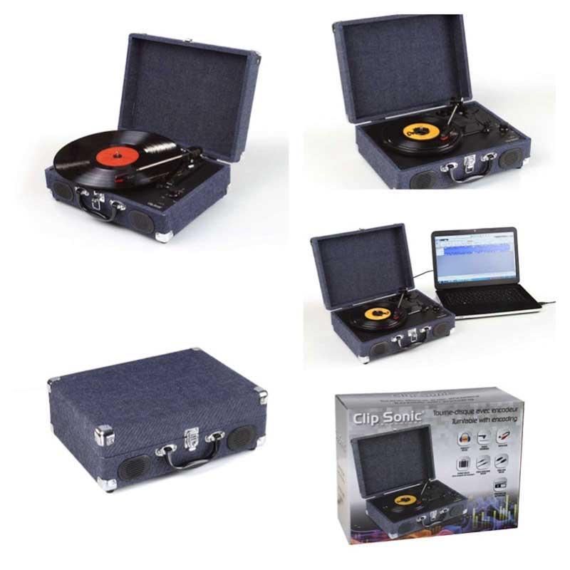 Tocadiscos Clipsonic TES130 - con codificador - El Tocadiscos semi-automático con impulso por correa le permite convertir tus canciones favoritas en formato mp3. Velocidad de giro: 33 1/3, y 45 vueltas-min, con 2 altavoces integrados estéreos de 3 W, conexión USB, codificador, permite reproducir sus discos vinilos en ficheros formato numérico. Batería incluida recargable de Litio - 0% mercurio y 0% cadmio -. Cable auxiliar jack, cable alimentación USB y CD software Audacity incluido para digitalizar sus vinilos favoritos. Función de parada automática. Aguja de lectura cerámica Stylus. Salida RCA para conectar altavoces externos. Volumen ajustable de forma continua mediante perilla. Tocadiscos en formato maleta con cierre de clip frontal y asa para mayor comodidad en el transporte, así usted será capaz de llevar su tocadiscos a una reunión de amigos o de vacaciones. Incluye: cable auxiliar, cable USB. - Medidas: 35,3x25,7x11 cm. - Peso: 2,8 kg. - Acabado: Tela vaquera gris y metal. - AC: 230v, 50hz, 12w.