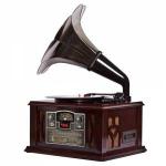 Tocadiscos Gramófono Clásico estilo retro Lauson CL140  - Gramófono Tocadiscos Clasico retro Lauson. Radio AM / FM estéreo. Compatible con CD / MP3 / CD-R / CD-RW. Entrada de tarjetas USB / SD. Lector de CD / MP3 con carga frontal. Cassette. Tocadiscos de 3 velocidades 33/45/78 RMP. Trompeta de sonido de metal. Potencia de salida: 2,0W (mßx.). Dimensiones: 420 x 355 x 653 mm. Alimentación AC: 230 V, 50 Hz.