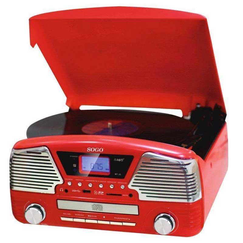 Tocadiscos retro Sogo SS-8575 - CD mp3 USB SD radio -función grabación - Tocadiscos estilo retro Sogo MCD-SS-8575r de 3 velocidades con la palanca de elevación. Ranura USB - SD para reproducción de MP3. Grabación en USB - SD de tocadiscos, CD, Radio FM, PLL AM. Entrada AUX IN, donde podrás conectar teléfonos smartphone, reproductores MP4 o MP3 y escuchar la música. CD, reproductor de CD programable. Temporizador para encender y apagar. Reloj Despertador. Pantalla LCD con luz de fondo. Salida RCA. Altavoz estéreo incorporado. Potencia de salida: 2x1,5w.    - Mando a distancia incluido. - Dimensiones: 33x32x15,8 cm. - Color: Rojo. - AC: 230v, 50hz, 12w.