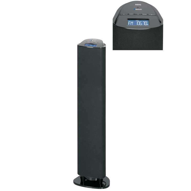 Torre de Sonido Bluetooth AEG BSS4813 - Torre de Sonido con Altavoz  2.1 Bluetooth con subwoofer integrado. Conectores: 1x AUX-IN (2x RCA), 1x AUX-IN - jack 3,5 mm. Pantalla LCD azul iluminado, reloj, control de volumen, 50 watios RMS. Incluye mando a distancia. Ideal para la conexión inalámbrica a través de Bluetooth - A2DP, rango de 15 m. Sintonizador de radio estéreo FM - FM Stereo, 60 presintonías, pantalla digital de frecuencia, antena FM integrada. AC: 100-240v, 50-60hz, 40w.