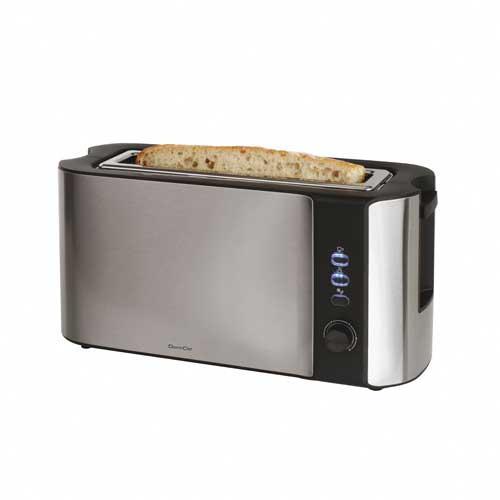 """Tostadora 1 ranura grande Domoclip DOD155 - Inox - Tostadora de pan eléctrica de 1 ranura larga de 25 cm marca Domoclip, con acabado en acero inoxidable, de alta durabilidad y con capacidad para 2 tostadas individuales ó 1 grande, que permiten tostar el pan de forma rápida, sencilla, sin ensuciar y sin necesidad de añadir grasa. Paredes de """"toque frío"""". Tostadores de pan con control de tostado electrónico, termostato ajustable de 6 niveles. Función des-congelación, recalentamiento y de cancelación de ciclo de tostado. 3 botones LED : parada rápida, calentamiento y descongelación. Expulsión automática. Incorpora una bandeja recoge-migas extraible. Almacenamiento para cable en la base para facilitar el almacenamiento del tostador eléctrico. - Color: inox-negro. - Medidas: 39 x 14 x 20 cm. - Peso: 1,75 kg. - Voltaje AC: 220-240 V, 50-60 Hz, 1000 W."""