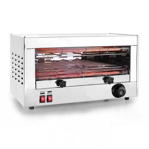 Tostador de pan Profesional - 1 nivel - Tostadora horizontal eléctrica profesional con 4 lámparas de calentamiento por infrarrojos, 2 arriba y 2 abajo, para tostar simultáneamente 2 - 4 rebanadas de pan, es ideal para la elaboración de tostadas para desayunos en buffets, catering, bares, restaurantes y hostelería general. También dispone de bandeja para migas extraíble para facilitar su limpieza. Con estas tostadoras profesionales de pan también podrá descongelar y recalentar el pan. Dispone de un control electrónico de temperatura e indicador con luz de funcionamiento. Esta tostadora de pan profesional ofrece la máxima seguridad con su cuerpo y exterior de toque frío.  - Capacidad : 2 - 4 rebanadas pan. - Medidas Parrilla: 35 x 24 cm. - Peso : 8 Kg. - Tamaño : 50 x 26 x 24 cm. - Potencia : 2000 W. - Voltaje AC : 220-230 V, 50-60 Hz. + Ver Detalles +
