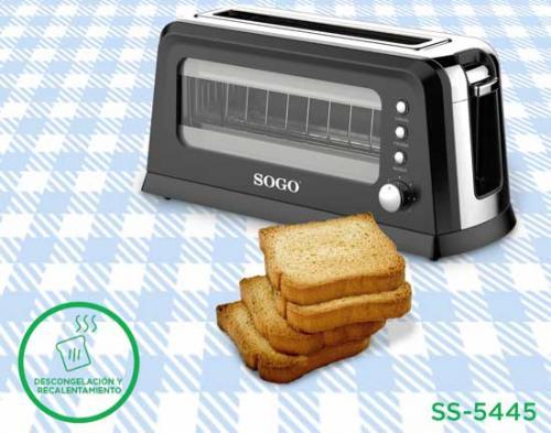 """Tostador con ventana cristal eléctrico Sogo SS-5445 - Ranura larga - Tostadora de pan eléctrica con ventana transparente para ver el estado del tostado, con ranura larga con capacidad para 1 tostada grande o 2 individuales. Función centrado del pan, descongelar, recalentar, y función de cancelación de ciclo de tostado. Indicador Luz del LED de funcionamiento. Control Electrónico con termostato regulable de nivel de temperatura para tostar al gusto. Función de apagado automático. Cuerpo y exterior de """"toque frío"""" para una máxima seguridad. Bandeja de migas extraíble para una fácil limpieza. Permiten tostar el pan de forma rápida, sencilla y sin ensuciar. - Medidas: 41,8 x 16,6 x 19,6 cm . - Peso: 1,95 kg.  - Voltaje AC: 220-240 v, 50-60 hz. - Potencia: 900 w. - Garantía: 2 Años. + Ver Detalles -"""