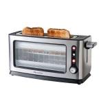 """Tostador de pan Domoclip DOD106 premium - cristal - Tostadora de pan en aluminio anodizado, con vidrio transparente, para todo tipo de pan. Capacidad para 1 tostada grande o 2 individuales. Función descongelar, recalentar, tostar una sola cara del pan con termostato regulable y función de cancelación de ciclo de tostado, luz piloto luminosa de puesta en marcha o conexión a la red. Bandeja recoge migas y cristal de protección extraíbles para una fácil limpieza. Paredes de """"toque frío"""". Guarda-cable bajo la tostadora. - Dimensiones: 40,3x15x20 cm. - Peso: 2,56 kg. - AC: 220v, 50 hz, 900w"""