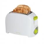 Tostador de pan Domoclip DOD112BV - blanco - Económico tostador eléctrico Domoclip para 2 rebanadas de pan, con termostato variable, bandeja recogemigas extraíble para limpieza fácil, botón apagado, posición recalentamiento. Cuerpo y exterior de toque frío para una mayor seguridad. - Color: Blanco - verde.  - Medidas: 22x14,5x17 cm. - Peso bruto: 1,05 kg. - Alimentación AC: 220-230v, 50-60hz. - Potencia: 750w.