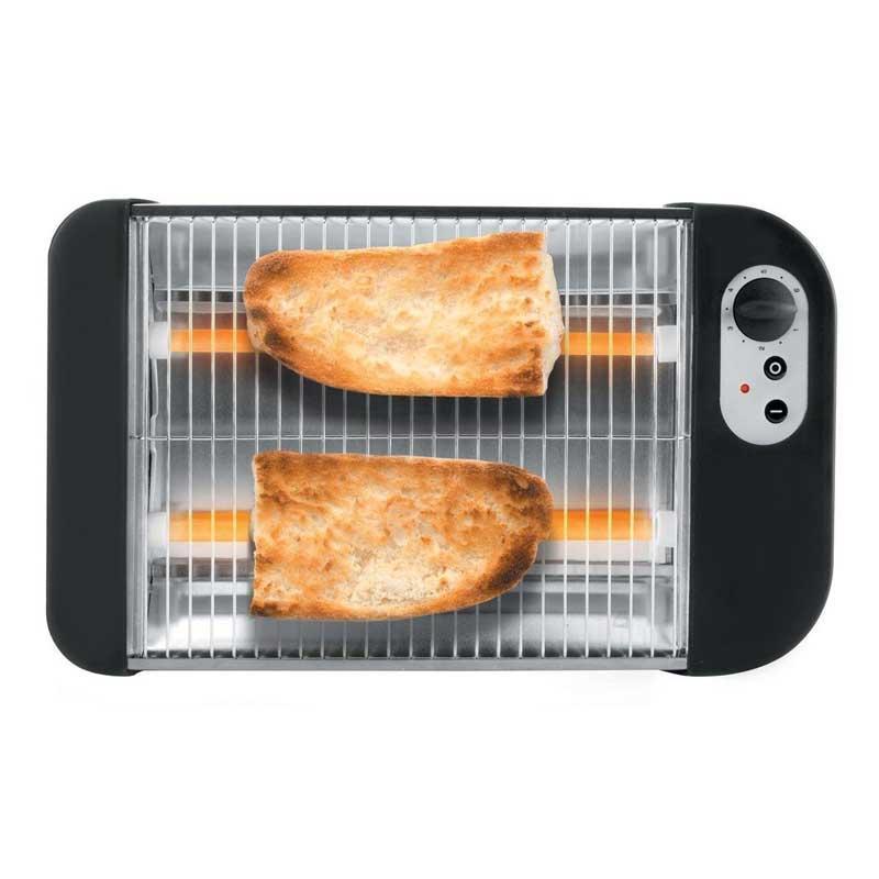 Tostadora de pan horizontal Lacor 69163 - Tostador eléctrico horizontal Lacor con parrilla en acero inoxidable 18-10 que permite tostar todo tipo de pan; hogazas, barras, rebanadas, y también bollería y sándwiches. Aroma y sabor de pan recién sacado del horno. Tostadores homogéneos por 2 barras de cuarzo y gran superficie de tostado. Interruptor de encendido y luz indicadora encendido. Tostador horizontal con regulación de temperatura hasta 360ºC y con 6 niveles de potencia. Bandeja recogemigas extraible. - Tamaño parrilla: 25x20 cm. - Medidas: 36x21x6,5 cm. - Peso: 1 kg. - AC: 220-230v, 50-60hz. - Potencia: 600w.