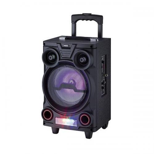 """Altavoz Trolley portátil Sogo SS-8740 - Bluetooth - Sistema de Altavoz Trolley con Batería Recargable. Altavoz activo con potencia y Luces intermitentes estilo fiesta de DJ, MP3 / USB / TF / Radio FM, Micrófono Inalámbrico incluido. Altavoz Trolley Portatíl de 8"""" con Batería Recargable de 7.2V / 1500 mAh.  - Potencia de salida: 200 W PMPO (20W RMS). - Bluetooth 2.1 / USB 2.0 / Lector de tarjeta TF / Radio FM. - USB 2.0 / Tarjeta: Max Capacidad: 32 GB. - Control remoto e Incluido 1 micrófono inalámbrico. - Entradas: 1 x Mic / 1 x Aux. - Unidad Driver: 1 x Woofer de 8"""