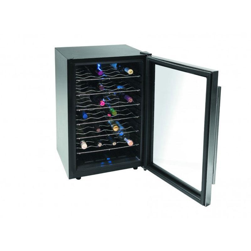 Vinoteca armario refrigerador Lacor 69072 Inox Line - 28 botellas - Refrigerador eléctrico Vinoteca tipo armario con capacidad para 28 botellas de la serie Inox Line de Lacor. Vinoteca diseñada para refrigerar eficazmente botellas de vino y otras bebidas. Puerta de acabado en acero inoxidable. Control electrónico de temperatura, termostato regulable. Incorpora una práctica luz interior. Nivel de ruido inferior a 30 decibelios. Botellas: 28. Potencia: 80 W. Volumen: 65 Litros.Temperatura: 12 - 16 grados. Consumo: 50 Kw/h. Medidas: 46x73x53 cm. Peso: 17,20 Kg. ( ENVÍO GRATIS ). - Ver Detalles -.