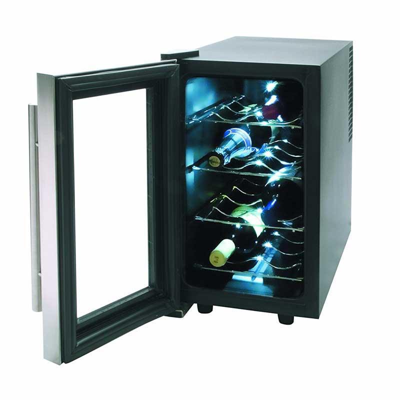 Vinoteca armario refrigerador Lacor 69078 Inox Line - 8 botellas - Refrigerador eléctrico Vinoteca tipo armario con capacidad para 8 botellas de la serie Inox Line de Lacor. Vinoteca diseñada para refrigerar eficazmente botellas de vino y otras bebidas. Puerta de acabado en acero inoxidable. Control electrónico de temperatura, termostato regulable. Incorpora una práctica luz interior. Nivel de ruido inferior a 30 decibelios. Botellas: 8. Potencia: 70 w. Volumen: 23 litros. Temperatura: 8-16 grados. Consumo: 20 kw-hora. Medidas: 25x49x54 cm. Peso: 9,40 kg. +( NO Envío Contra-reembolso ).- Ver Detalles -