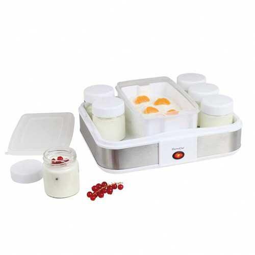 Yogurtera y quesera Domoclip DOP156 - 12 botes - Yogurtera y quesera para realizar yogures y quesos frescos naturales y caseros para que siempre sepas lo que tienes en el plato según los gustos de cada componente de la familia. Añade frutas, frutos secos, o la esencia que quieras, para elaboraciones originales y personalizadas. Maquina de hacer yogur y queso fresco que incluye: 12 botes de yogur de vidrio con tapa de rosca con capacidad de 0,21 litros, 1 cuba con escurridero para realizar quesos blancos, encellas y yogures filtrados con capacidad de 1,2 litros, 25 etiquetas para personalizar los botes. Limpieza sencilla y rápida, tapa transparente, botes y tapas compatibles con lavavajillas. Muy fácil de usar, interruptor marcha-parada con testigo luminoso de funcionamiento. Peso: 5 kg. - Dimensiones: 30,6x25x12,4 cm. - Voltaje AC: 230 V, 50 Hz. - Potencia: 21,5 W.