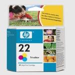 Cartucho Inyección Tinta Color HP 22 - Cartucho Inyección Tinta Color HP 22. Tinta para impresoras, multifunción, fax: HP Deskjet 3920 / D1360 / Officejet 4315 / PSC 1402 / FAX 3180...